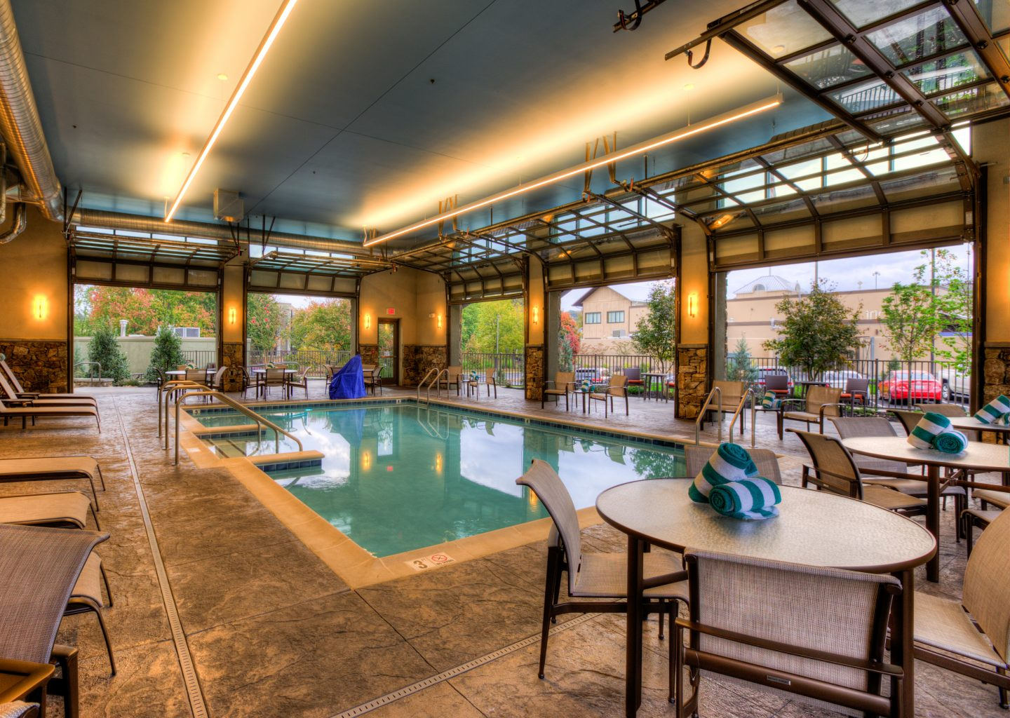 indoor pool area at Courtyard by Marriott Pigeon Forge hotel